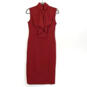 ASOS Maroon Ruffle Neck Sheath Dress Size 6